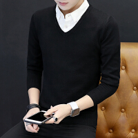 衬衫领毛衣男春季新款假两件纯色韩版V领长袖衣服男士薄款针织衫