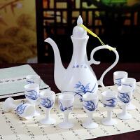 景德镇陶瓷酒壶中式仿古青花瓷酒具套装传统倒酒壶酒杯家用白酒器 jo8