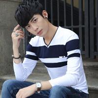 春季新款纯棉衬衫领长袖T恤男士V领修身短袖韩版秋衣外穿潮流小衫 9247 白色