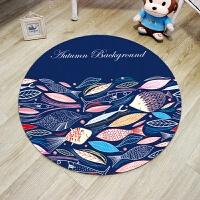 潮牌圆形地毯英伦米字旗复古时尚客厅床边卧室电脑椅转椅地垫定制 桔红色 象形鱼