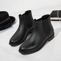 切尔西雨鞋女短筒防水秋冬时尚雨靴套鞋防滑水靴学生胶鞋水鞋 黑色