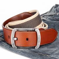 青年帆布腰带男士加长配牛皮工装牛仔裤带时尚针扣休闲皮带3.5cm
