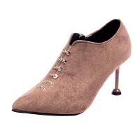 短靴女鞋子尖头马丁靴高跟2018冬秋款冬季新款细跟韩版百搭女靴子真皮