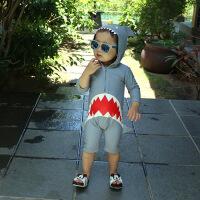 厂家直销韩国儿童泳衣连体鲨鱼可爱男女童小童宝宝婴儿防晒游泳衣