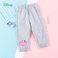 迪士尼Disney童装 女童纯棉休闲裤米妮印花打底裤春季新款女宝宝舒适裤子