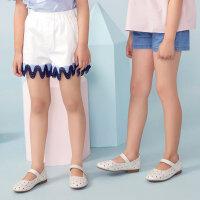 【2件1.5折价:16.4,可叠券】米喜迪童装19夏新款女童裤口拼接波浪织带梭织短裤
