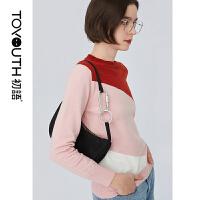 【2件3折 叠券预估价:83.9元】初语秋装新款 时尚个性色块拼接套头毛衣