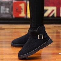 秋冬季新款中帮马丁靴加绒保暖雪地情侣靴子英伦风一脚蹬懒人短靴