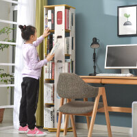 【支持礼品卡】儿童书架简约现代旋转书架360度多层简易落地置物架学生书柜创意 p5q