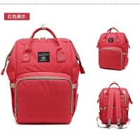 双肩包女多功能妈妈包布包大容量母婴包时尚韩版外出宝妈旅行背包 红色 《送挂扣》