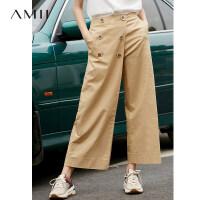 【到手价:169元】Amii极简法式ulzzang潮休闲裤女2019夏季新款显瘦搭片阔腿九分裤