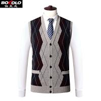 秋冬季加厚背心格子开衫毛衣无袖坎肩马甲男装含绵羊毛带兜真口袋SW7862