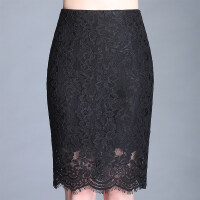 蕾丝半身裙春中长款2018新款女夏季高腰镂空包臀一步大码长裙子