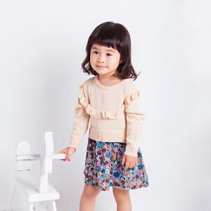 童装女童针织连衣裙秋冬新款纯棉长袖裙荷叶边拼接碎花裙子套头毛衫