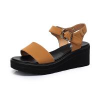 camel ��女鞋 夏季新款休�e厚底�鲂�松糕鞋防水�_坡跟同款晚晚鞋