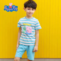 【促】小猪佩奇正版童装男童夏装2018夏季新款全棉短袖条纹T恤+短裤套装两件套