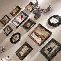 美式复古照片墙装饰鹿头欧式实木相框挂墙组合客厅创意相片背景墙