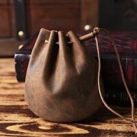 手工制作复古新款牛皮零钱包时尚怀旧风硬币包皮抽绳束口收纳袋