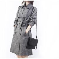 №【2019新款】冬天美女穿的风衣女中长款2018冬装新款修身韩版潮加棉加厚格子外套
