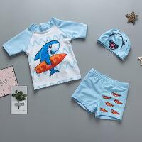 儿童泳衣男童泳裤套装鲨鱼 男孩分体游泳衣韩版宝宝防晒泳装泳帽
