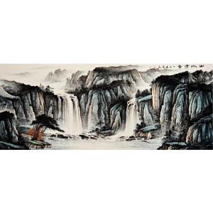 胡爱民《山水清音》2.4米巨幅  省美协会员 有作者授权