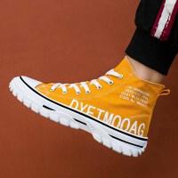 帆布鞋 男士休闲鞋2020新款秋季男式时尚高帮帆布鞋潮学生运动单鞋子男鞋子