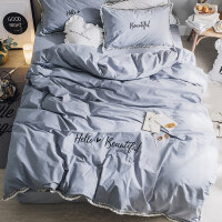 简约冬季全棉磨毛四件套纯棉公主风纯色1.8m床单被套加厚床上用品