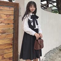 刺绣衬衫连衣裙女春装新款韩版学院风百搭宽松显瘦长袖娃娃裙学生
