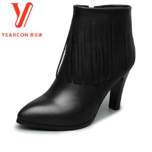 意尔康女靴2017秋冬真皮尖头流苏细跟踝靴时尚高跟踝靴