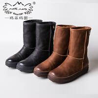 玛菲玛图2018  新款加绒保暖雪地靴女中筒靴厚底女靴平底棉鞋英伦女鞋子362-21S