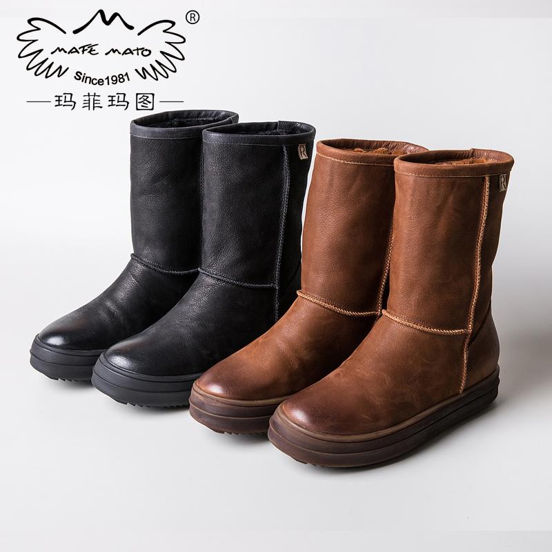玛菲玛图2018  新款加绒保暖雪地靴女中筒靴厚底女靴平底棉鞋英伦女鞋子362-21S尾品汇 付款后3-5个工作日发货