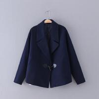 421 女装 冬季新款牛角扣翻领长袖女式宽松休闲毛呢外套