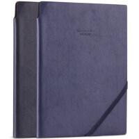 得力22215商务复古笔记本25K记事本插笔PU皮面日记本带绳可定制