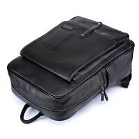 大容量韩国双肩包韩版男士书包方形竖款背包笔记本电脑包 黑色