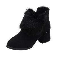 磨砂真皮粗跟短靴女2018冬季新款女鞋欧美水貂毛中跟短筒马丁靴女 黑色