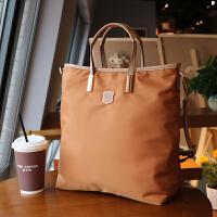 帆布单肩包女斜挎大包欧美时尚牛津布简约竖款通勤尼龙女包手提包SN6742 咖啡金 现货