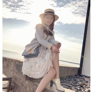 谜秀毛针织衫女2018春装新款韩版宽松条纹毛衣开衫短款外套女装潮