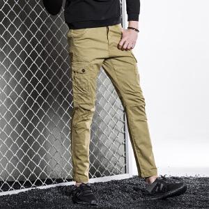 秋冬工装裤男长裤男士直筒宽松多口袋裤子户外潮牌运动休闲裤