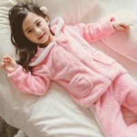 女童秋冬珊瑚绒睡衣加厚款套装中大童小女孩宝宝儿童法兰绒家居服