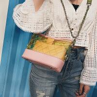 包包女2018新款欧美菱格链条包明星同款透明果冻包包单肩斜挎包