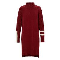 【2件1.5折价:149.9,可叠券】MECITY女装冬季潮流中长羊毛拼接高领撞色毛衫裙