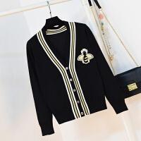 春季韩版中长款V领毛衣外套女小蜜蜂刺绣学院风长袖针织衫开衫 黑色 M 适合100-115斤内穿