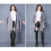 秋冬围巾两用加厚毛衣女针织衫蝙蝠衫披肩外套中长款韩版斗篷开衫 均码