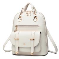 女士包包双肩包女时尚韩版潮学院风pu皮单肩手提包女背包 白色