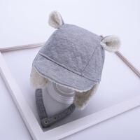 宝宝帽子冬季加绒女童护耳帽男童雷锋帽1-3岁2秋冬天儿童套头帽潮 灰色 酷护耳鸭舌 均码