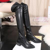 尖头过膝长靴女2018秋冬季新款欧美瘦瘦靴中跟粗跟高筒靴女鞋子潮