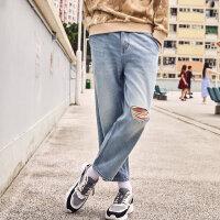 【1件3折价:53.7】美特斯邦威牛仔裤男秋季潮流时尚复古漂洗破洞男士牛仔裤