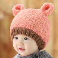 韩版婴儿帽子秋冬新生儿毛线帽女宝宝帽子0-3-6-12个月男童护耳帽