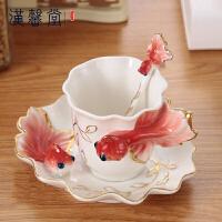 汉馨堂 杯子套装 金鱼咖啡杯创意结婚礼物陶瓷杯欧式骨瓷茶杯简约水杯子生日礼物送女生