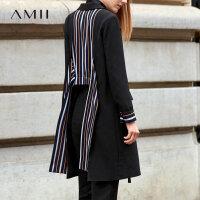 【折后价:286元/再叠300-30元券】Amii极简小香风时尚欧美外套女2019秋季新款条纹拼接中长款潮西装